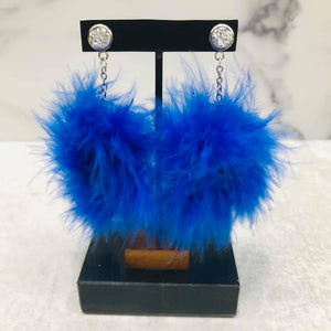 Dangle Feather Poof Earrings with silver-colored posts
