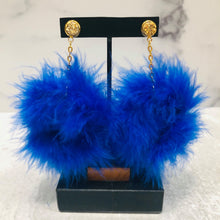 Load image into Gallery viewer, Dangle Feather Poof Earrings with gold-colored posts