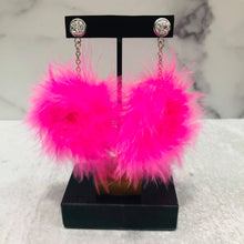 Load image into Gallery viewer, Dangle Feather Poof Earrings with silver-colored posts