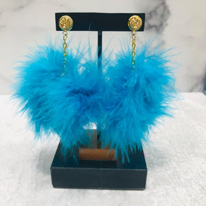 Dangle Feather Poof Earrings with gold-colored posts