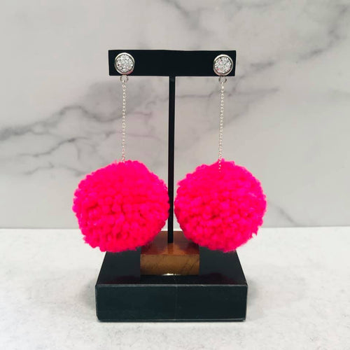 Hot Pink Pom Dangle Earrings with Faux Druzy Stud - Bold & Bright Boutique