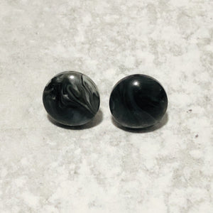 12mm Marble Resin Stud Earrings with Stainless Steel Posts - Bold & Bright Boutique