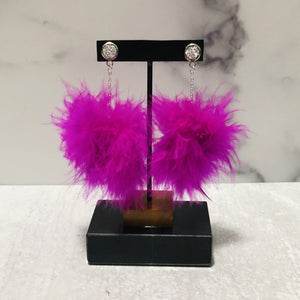 Dangle Feather Poof Earrings - Bold & Bright Boutique