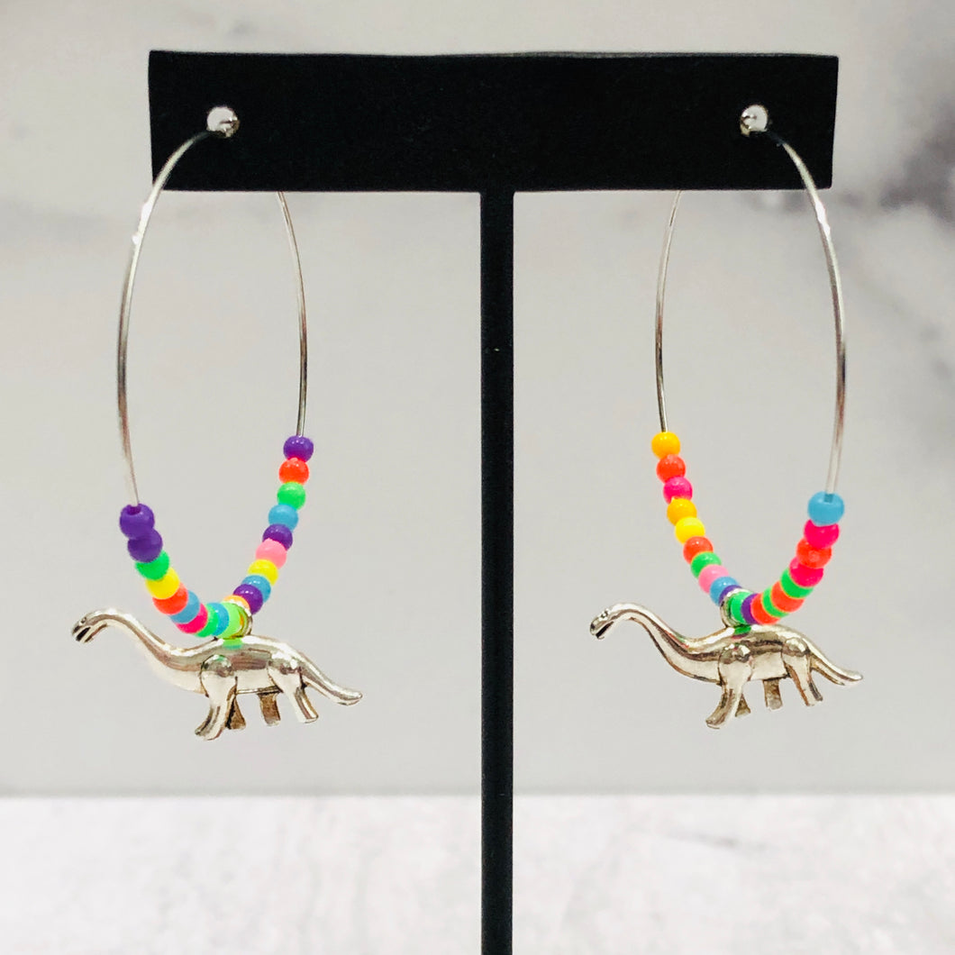 Neon Dinosaur Hoop Earrings
