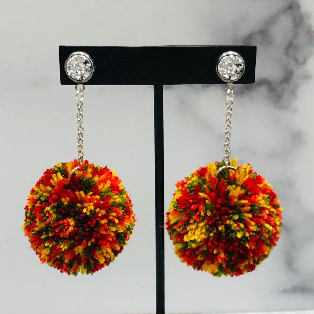 Autumn Leaves Skinny Pom Earrings