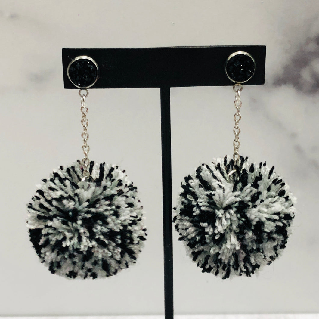Monochrome Magic Skinny Pom Earrings