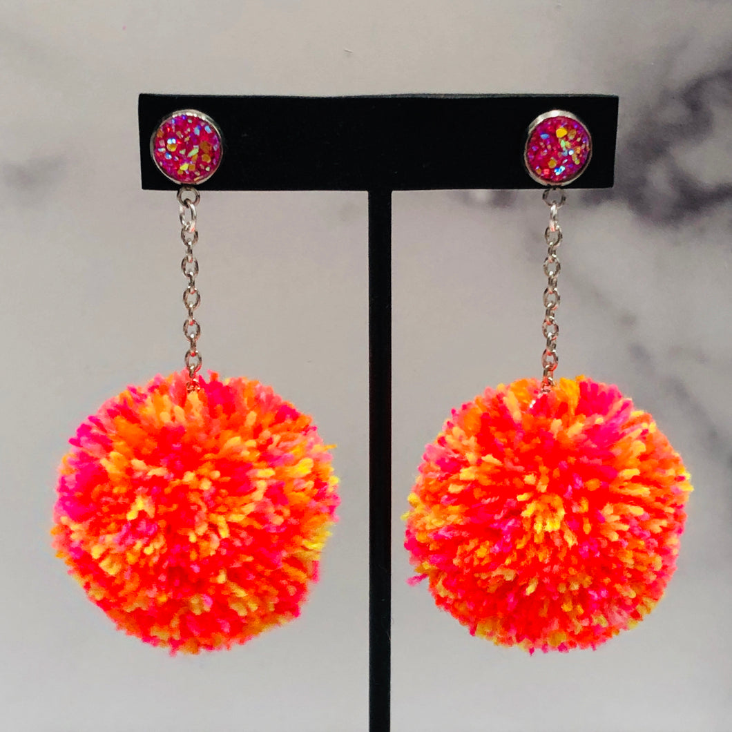 Pink Highlighter Skinny Pom Earrings