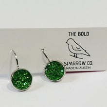 Load image into Gallery viewer, 10mm Green Dangle Earrings - Bold & Bright Boutique