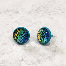 Load image into Gallery viewer, 12mm Multi-colored Leopard Stud Earrings with blue posts - Bold & Bright Boutique