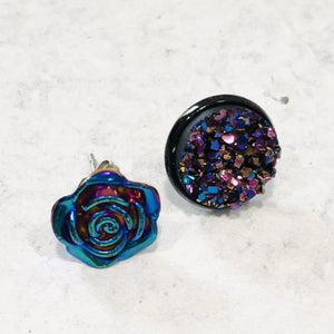 Rainbow metallic druzy and rose stud earring set - Bold & Bright Boutique