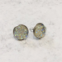 Load image into Gallery viewer, Handmade clear and silver 12mm round faux druzy studs - Bold & Bright Boutique