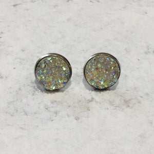 Handmade clear and silver 12mm round faux druzy studs - Bold & Bright Boutique