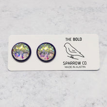 Load image into Gallery viewer, 12mm Iridescent cabochon with purple posts - Bold & Bright Boutique