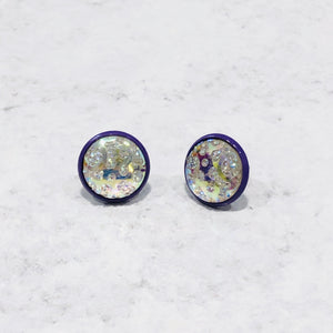 12mm Iridescent cabochon with purple posts - Bold & Bright Boutique