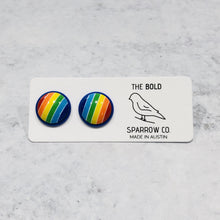 Load image into Gallery viewer, Handmade Rainbow round 12mm studs with blue posts - Bold & Bright Boutique