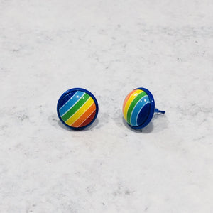 Handmade Rainbow round 12mm studs with blue posts - Bold & Bright Boutique