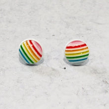 Load image into Gallery viewer, Handmade Rainbow round 12mm studs with white posts - Bold & Bright Boutique