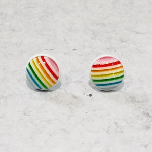 Handmade Rainbow round 12mm studs with white posts - Bold & Bright Boutique