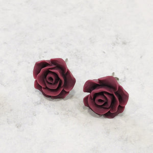 Handmade burgundy rose and faux marble resin stud earring set - Bold & Bright Boutique