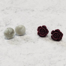 Load image into Gallery viewer, Handmade burgundy rose and faux marble resin stud earring set - Bold & Bright Boutique