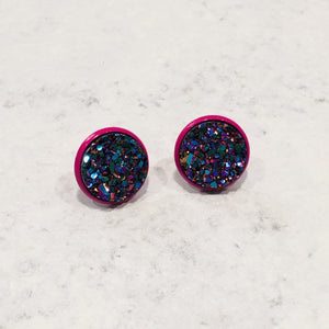 Handmade multicolored 12mm round faux druzy studs with magenta posts - Bold & Bright Boutique