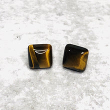 Load image into Gallery viewer, 10mm Square Natural Stone Studs - Bold & Bright Boutique