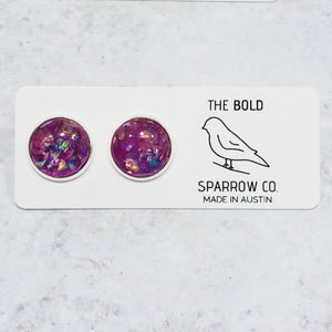 Multiple colors - Colorful Opal 12mm Round Stud Earrings - Bold & Bright Boutique