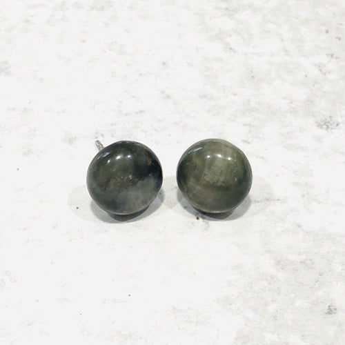 10mm Round Natural Stone Studs - Bold & Bright Boutique