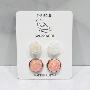 Peach and opal round and rose stud earring set - Bold & Bright Boutique