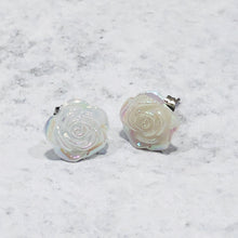 Load image into Gallery viewer, Peach and opal round and rose stud earring set - Bold & Bright Boutique