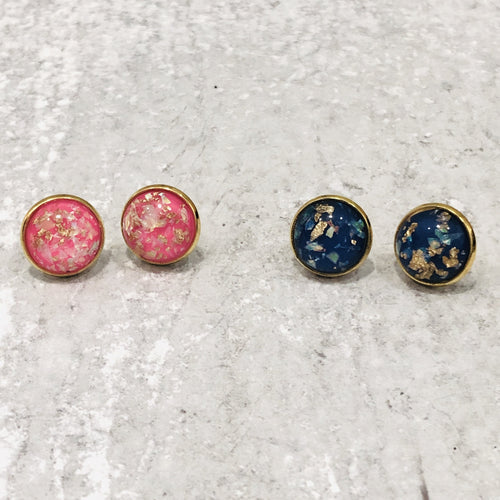 12mm Gold Foil Resin Stud Earrings - Bold & Bright Boutique