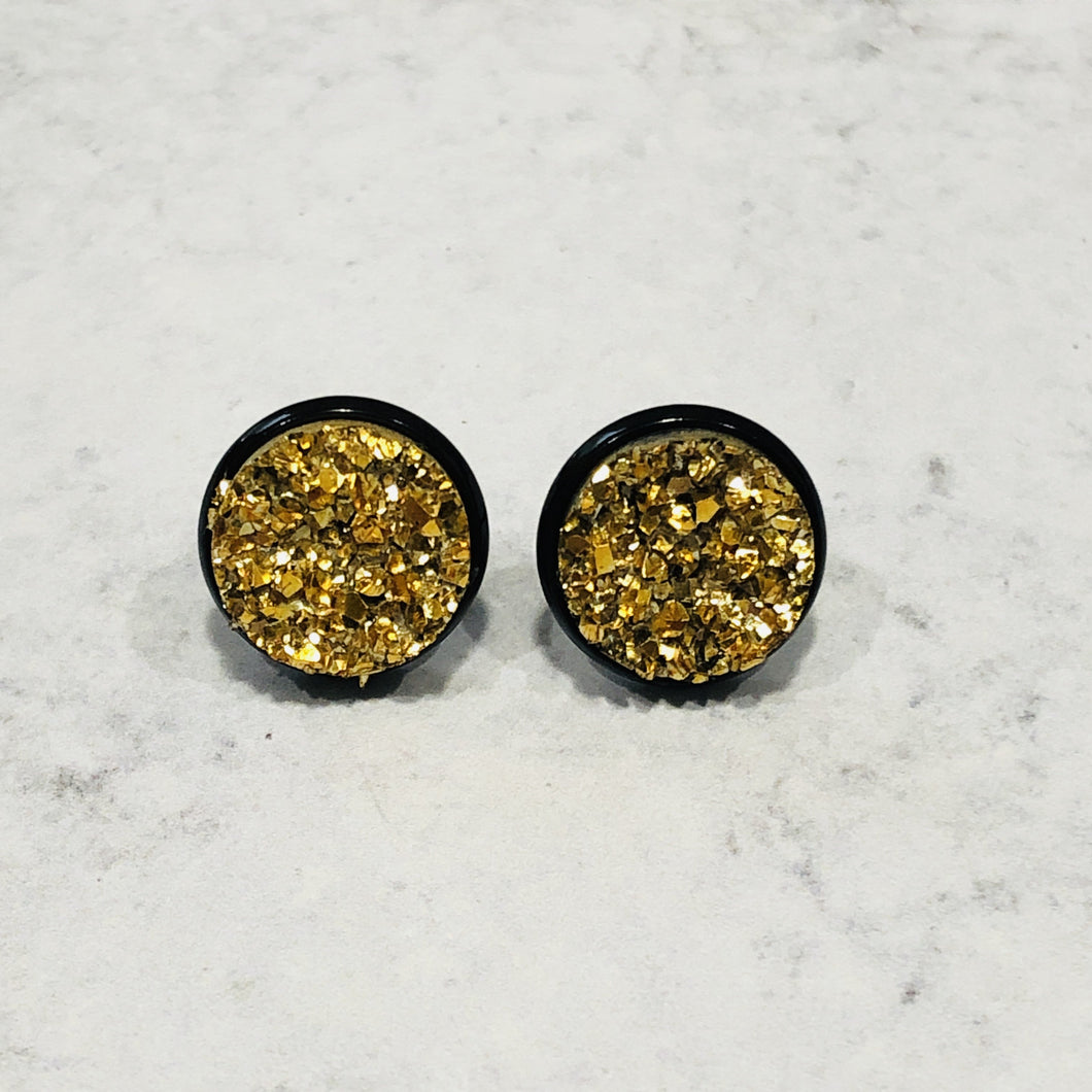 12mm shiny gold faux druzy stud earrings with black posts - Bold & Bright Boutique