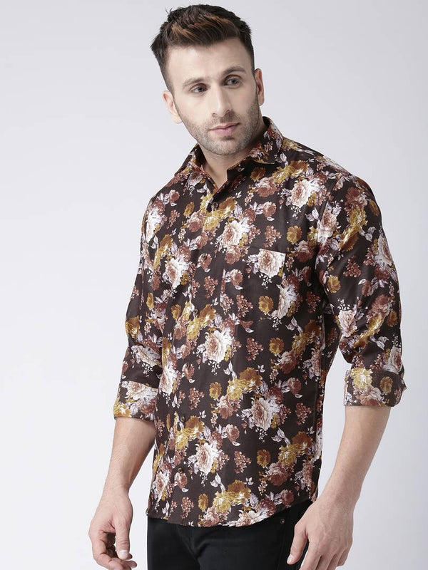 Hangup Multicoloured Cotton Blend Printed Slim Fit Casual Shirt - MYLAZYKART