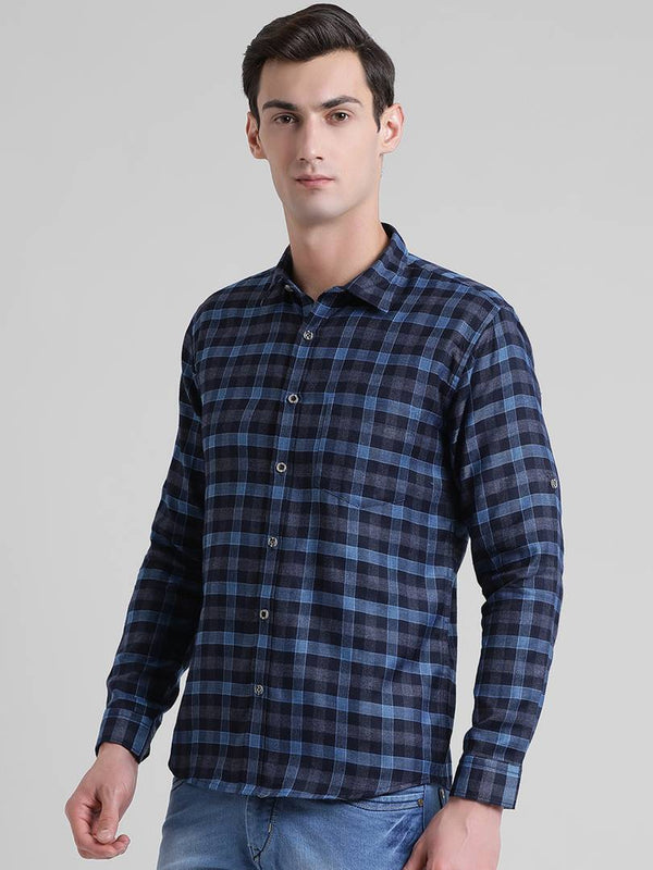 Being Fab Blue Cotton Blend Checked Casual Shirt - MYLAZYKART