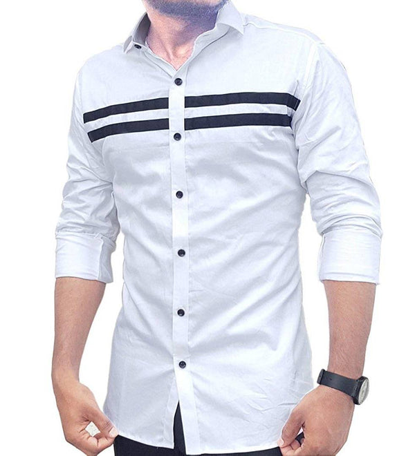 White Solid Cotton Slim Fit Casual Shirt - MYLAZYKART