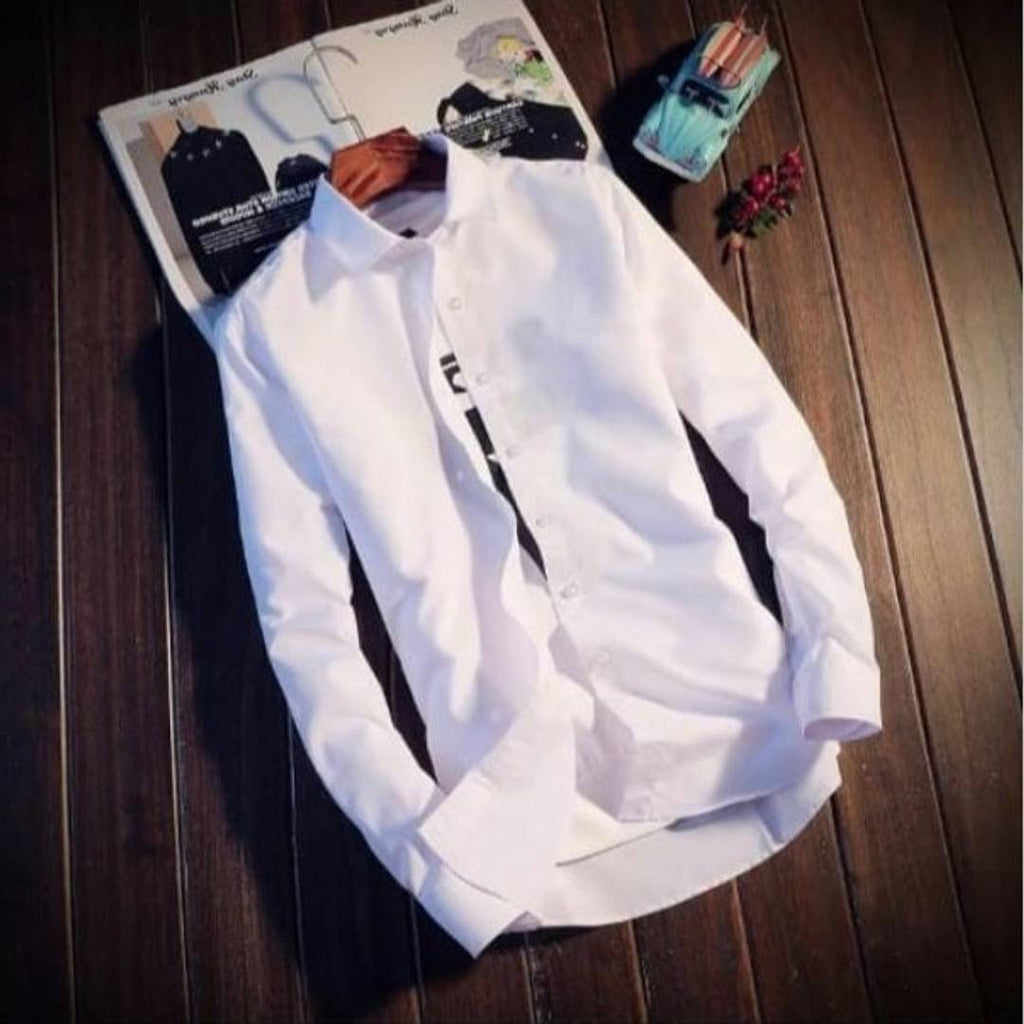 Men's White Cotton Solid Long Sleeves Regular Fit Casual Shirt - MYLAZYKART