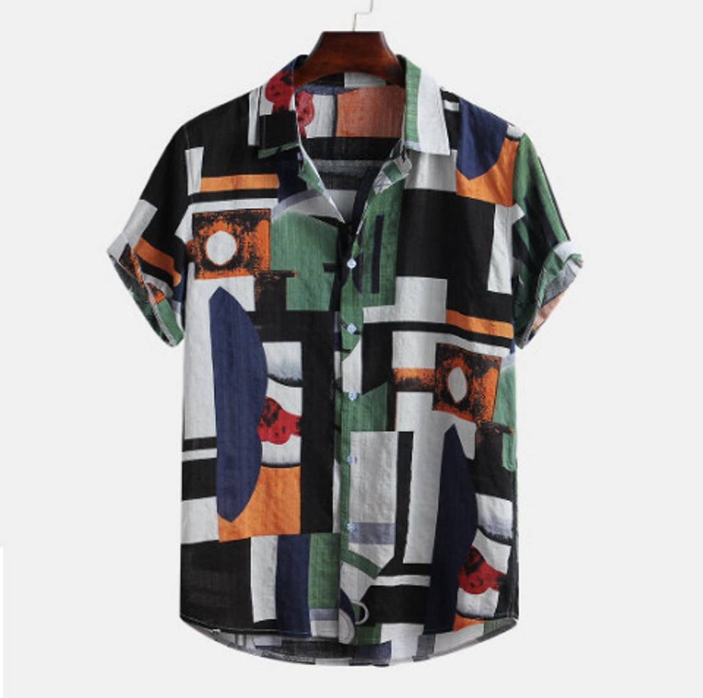 Men's Multicoloured Printed Polycotton Short Sleeves Casual Shirts - MYLAZYKART