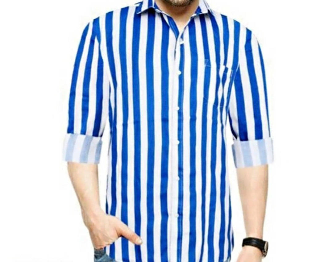 Men's Multicoloured MLK Cotton Striped Long Sleeves Casual Shirt - MYLAZYKART