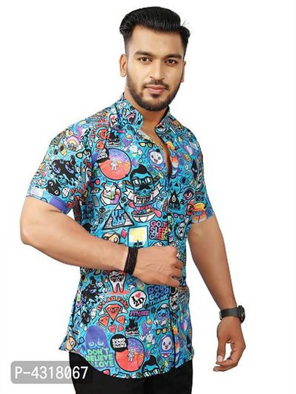 Trendy Multicoloured Satin Blend Printed Casual Shirt For Men - MYLAZYKART