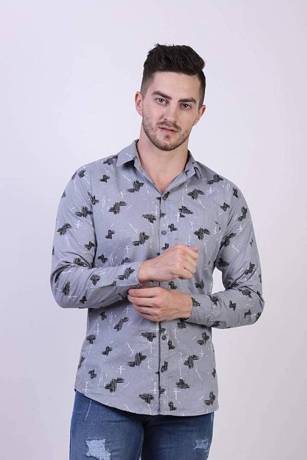 Men's Grey Cotton Printed Long Sleeves Slim Fit Casual Shirt - MYLAZYKART