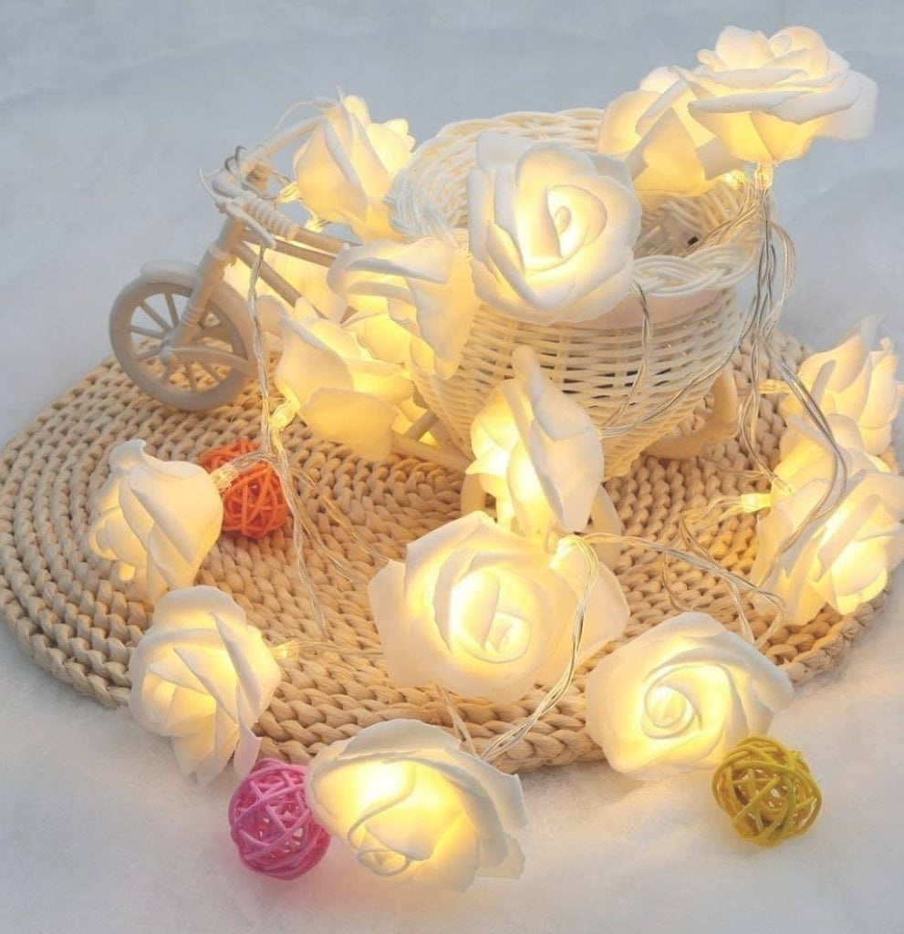 Creative Led Rose Flower String Light Battery Operated Night Diwali Light For Decoration (10ft - 20 LED) - MYLAZYKART