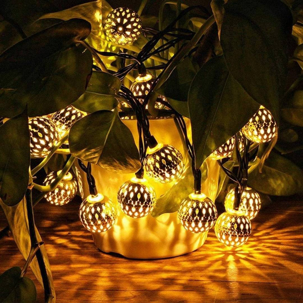 Ball Shape LED Light To Decorate Walls, Windows, Doors, Floors, Trees, Grasses | Warm Glow Of Golden Ball String Lights (1Pc) (Golden) - MYLAZYKART