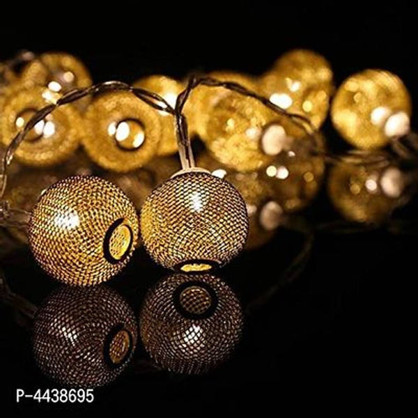 Decorative 16 LED Golden Metal Round Shape Copper String Fairy Light - MYLAZYKART