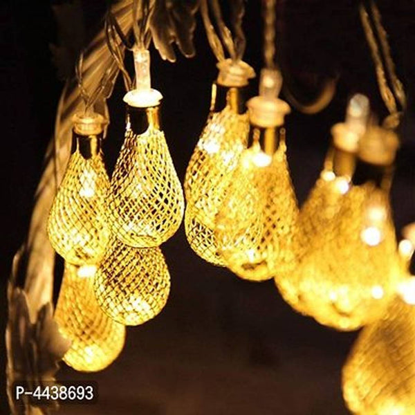 Decorative 16 LED Golden Metal Rain Drop Copper String Fairy Light - MYLAZYKART