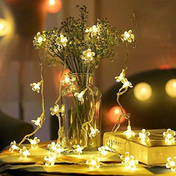 Blossom Flower Fairy String Lights, 16 LED Christmas Lights for Diwali Home Decoration - MYLAZYKART