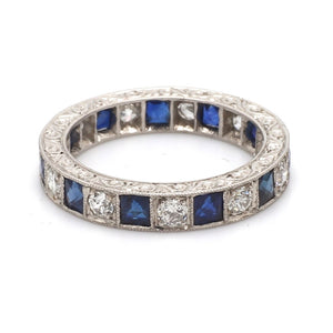 0.85ctw Sapphire and Old European Cut Diamond Band