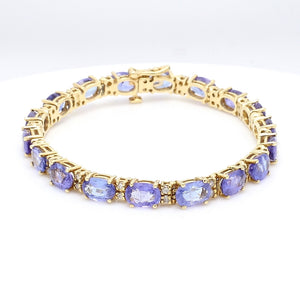 20.00ctw Oval Cut Tanzanite Bracelet