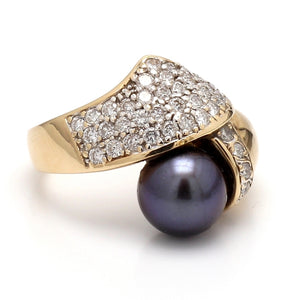 SOLD - 9mm Black Pearl and Diamond Ring