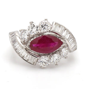1.30ct Marquise Cut, Ruby Ring - GIA Certified