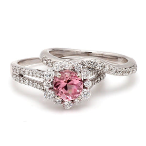 0.98ctw Round Brilliant Cut Pink Tourmaline Ring Set